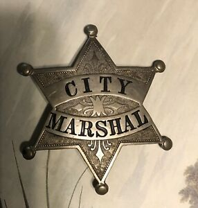 ANTIQUE CITY MARSHAL BADGE 6 POINT STAR ADAMS STAMP & SEAL CO ST LOUIS