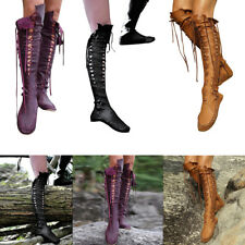 Chic Women PU Leather Up Flat Gladiators Candy Knee Strappy High Boots Shoes Hot