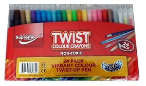 Supreme 24 Pack Large Twist Up Crayons Non Toxic Crayons High Quality Washable