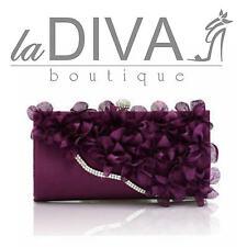 CLUTCH Tasche Chiffon Blumen Strass Bordüre lila violett Abendtasche Gala Fest