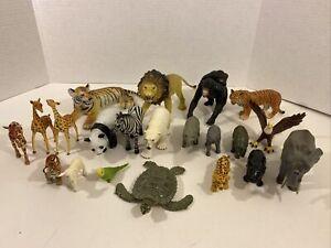 Mixed Lot of Zoo Animal Figures Plastic & Rubber - Schleich, Safari, Battat, AAA