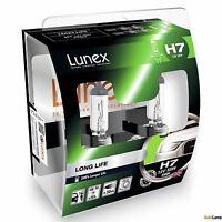 2x H7 Genuine Lunex LONG LIFE 200% 55W 12V 477 Car Headlight Bulbs PX26d Twin