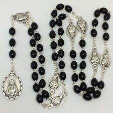 Seven Sorrows Chaplet Rosary Wood Beads Oxidized Silver Medals w/Blk velvet bag