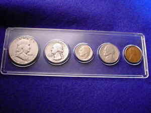 1951-S 5 COIN SAN FRANCISCO MINT SET KEY DATE COINS 90% SILVER!   #400