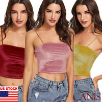 Womens Sexy Spaghetti Strap Velvet Cotton Cami Crop Tank Top Cropped Camisole US