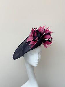 Navy & Hot Pink Fascinator / Hatinator / Hat - Ascot, MOB, Wedding, Races