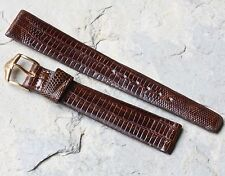 Great texture gloss brown Genuine Teju Lizard 16mm vintage watch band 1950s/60s