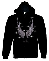 Men Zip Up Hoodie Sweater Bling Bling Rhinestone Fire Wings Thick Zip-Up S to 4X