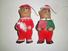 "Vintage Bear Pair Paper Mache hand painted figural 5"" Christmas Ornaments"