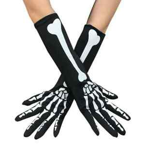 Punk Skeleton Gloves Boys Girls 3D Bones Hands Halloween Costume