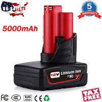 For Milwaukee M12 Lithium XC6.0 Extended High Capacity Battery 48-11-2460 5.0 Ah