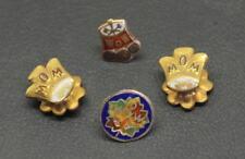 (4) W.O.W. 10K GOLD LAPEL PINS with 3 WOODMEN OF THE WORLD  TREE STUMP PIN BACKS
