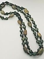 Vintage long boho style seed nut pod necklace in green and brown