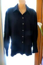 VINTAGE   ~ HANDWRITING ~ Navy Winterweight  BLOUSE/TOP * Size 14-16 *
