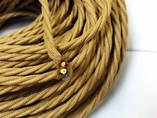 Vintage 3-Wire Twisted Cloth Covered Wire Antique Pendant Lamp Cord Brown Bronze
