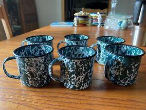 Vintage Enamelware Mugs Green White Splatter/Swirl Set Of 6 Coffee Camp Cups