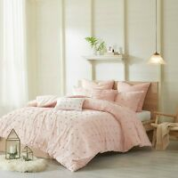 100% Cotton Pink Tufts Dots Soft Comforter Cal King Queen Full 7 pcs Bedding set