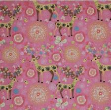 Christmas Deer Printing Pattern Cloth Natural Cotton Linen Fabric Sewing DIY