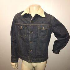 Vintage Sherpa Jean Jacket Mens Medium Blue Denim Trucker USA Sears Roebuck