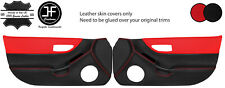 BLACK RED  2 TONE 2X FULL DOOR CARD LEATHER COVERS FOR HONDA CRX DEL SOL 92-97