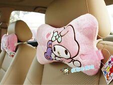 2 Pcs San-X Rabbit My Melody Soft Car Seat Headrests Relax Cushion Bone Pillows