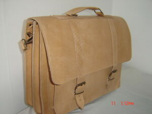 TAN HAND MADE RETRO VINTAGE LEATHER BRIEFCASE CLASSIC STYLE