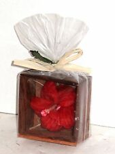Beautiful HAND CRAVED HAWAII HAWAIIAN FLOWER Soap in Wooden Display Wood Box
