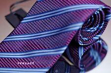 Versace Men's Tie Purple Blue Stripe Luxury Woven Silk Necktie New