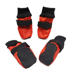 4 pcs New Soft Sole Waterproof Winter Dog Booties Boots Shoes Red USA Stock