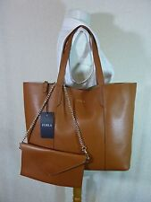 NWT Furla Cuoio Brown Pebbled Leather Large Elle Tote Bag $348