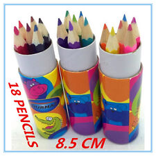 18 X MINI COLOURING PENCILS IN POLKA DOT DESIGN TUBE CASE LOOT BAG FILLER CRAFT