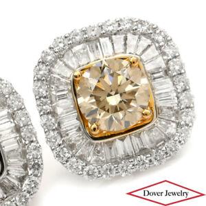 Estate 3.81ct Natural Fancy Yellow Diamond 18K Gold Framed Stud Earrings NR