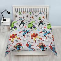 Marvel Avengers Grey Double Duvet Cover & Pillowcase Set Reversible