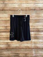 """Under Armour Mens UA Tech Logo 10"""" Gym Shorts Size Medium Black Gray New NWT"""