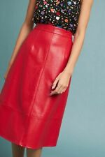 ANTHROPOLOGIE  NWT ERI + ALI NEON RED Faux Leather Skirt Sz. 4 $128 SOLD OUT