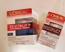 L'oreal Revitalift Anti-Wrinkle + Firming Face & Eye Cream Lot of 2, NEW