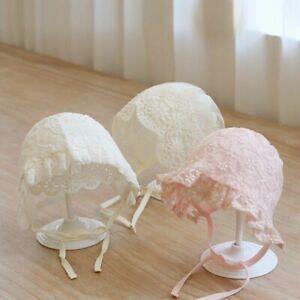 Lace Flower Baby Bonnet Hat Solid Color Princess Infant Girl Sun Hat Summer Mesh