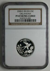 2008-S Oklahoma Silver Quarter NGC PR 69 Ultra Cameo UNC - 183734A