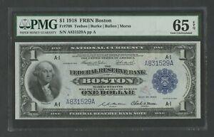 FR708 $1 1918 FRBN BOSTON PMG 65 EPQ GEM UNC WLM8702