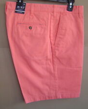 NWT $55 NAUTICA Men 36 FLAT FRONT DECK SHORTS 8.5 Pale Coral COTTON TWILL B71004