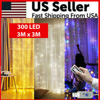 300 LED Curtain Lights String 3M*3M USB Powered Waterproof Twinkle Wall Lights