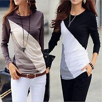 Women Casual Tops T-Shirt Loose Fashion Lace Blouse Cotton Blouse Long Sleeve @