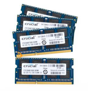 16GB Crucial 4x 4GB 2RX8 PC3L-12800S DDR3 1600Mhz 204Pin 1.35V Laptop Memory RAM