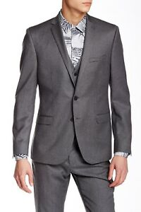 Ben Sherman Camden Grey Flannel Solid Notch Lapel Jacket Only Sz 42R