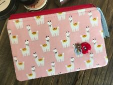 Llama makeup bag / purse handmade cosmetic pouch Animal print fabric Gift idea