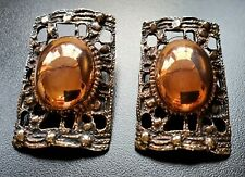Stud Shield Earrings Fashion Jewelry Vintage Square Bronze Brown Copper Style