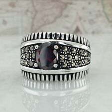 HandMade Solid 925 Sterling Silver Marcasite And Red Garnet Gemstone Men Ring