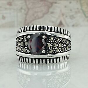 Solid 925 Sterling Silver Mens Ring Marcasite & Red Garnet Gemstone Handmade