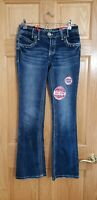 NEW NWT AMETHYST Trumpet Mid Rise Boot Cut Distressed Jeans 7 Short