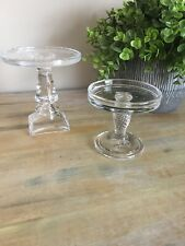 Longaberger Set of 2 glass pedestal candleholders